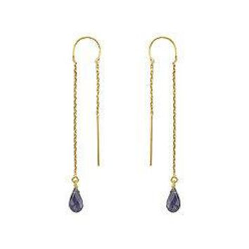 Iolite Thread Earrings : 14K Yellow Gold - 2.00 CT TGW