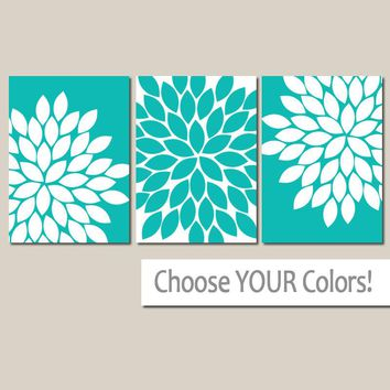 Turquoise Flower WALL ART, CANVAS or Prints, Turquoise Bathroom Decor, Turquoise Bedroom Pictures, Turquoise Nursery Decor, Set of 3