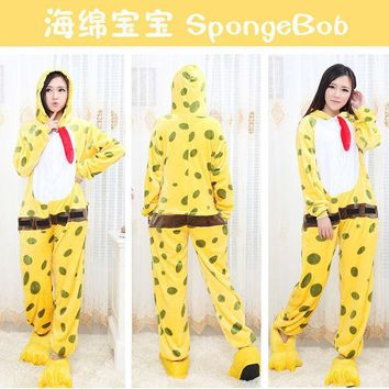 PEAPIX3 Cartoons Sponge Bob Sleepwear Lovely Couple Winter Sponge Halloween Costume [9220981764]