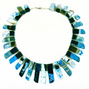 Teal Agate Slab Stick Fringe Statement Bib Necklace