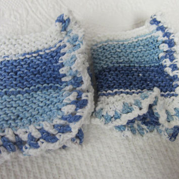 Knit Dishcloth,Washcloth,Dish Rag,Wash Rag Set of two Made with 100% Cotton,Kitchen Decor,Great Gifts,in Blue's Ready to ship