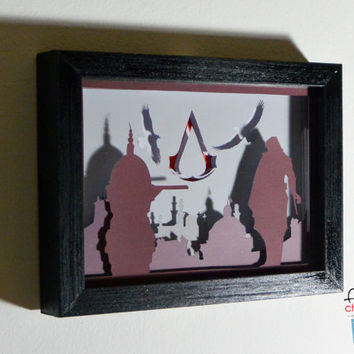 Assassin creed framed hand paper cut, special wall decor, unique gift, video game home decor, video game wall decor, geek gift