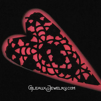 Pink Candy Neon Glow in the Dark Heart Pendant by MoniqueLula
