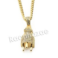 "Mens Iced Out Brass Bling Electronic Plug Pendant w/ 5mm 24"" 30"" Cuban Chain A03"