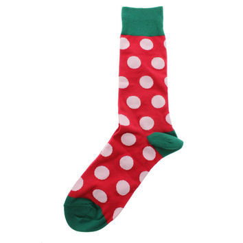 Hot Sox Mens Holiday Dot Lightweight Printed Crew Socks