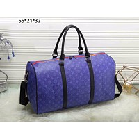 LV Louis Vuitton street fashion men and women classic old flower travel bag shoulder shoulder diagonal Blue print