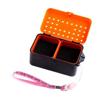 2 Compartments Fishing Baits Earthworm Worm Lure Storage Case Tackle Box 2 Sizes S/L