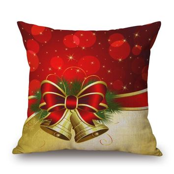 Christmas Linen Square Throw Flax Pillow Case 45*45