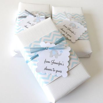 Baby Boy Shower Favors with Custom Elephant Tags, Set of 12