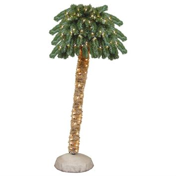 6-Ft Artificial Christmas Tree Palm with Clear White Lights