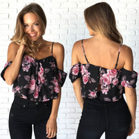 Honey Bunch Floral Off Shoulder Top