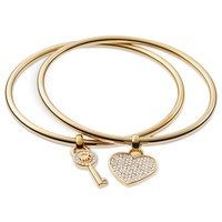 Michael Kors Gold-Tone Heart and Key Charm Bangle Bracelets