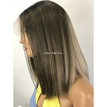 Ash Blonde Balayage Ombré Human Hair Multi Parting Lace Front Wig 0418 23