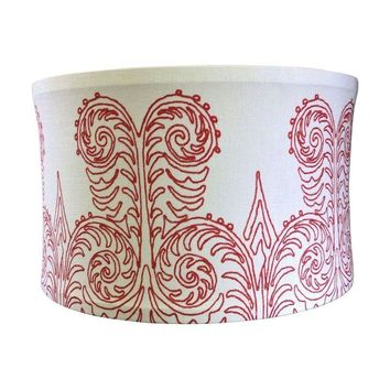 Pre-owned Custom Printed Linen Drum Shade Pendant