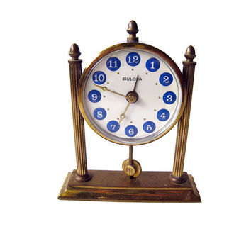 Bulova Blue Enameled Desk Alarm Clock / Working Condition Clock / Vintage Home Decor / Table Clock