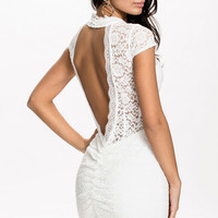 White Short Sleeve Halterneck with Ruched Deep V-Cut Back Floral Lace Badycon Dress
