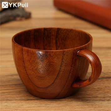 Eco-friendly Primitive Handmade Wooden Milk Coffee Mug Breakfast Cup Beer Barrel Portable Travel Drinking Cup Home Bar Drinkware