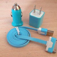 Bestgoods — 3pcs/Lot!1m  USB Cord 1PCS USB Power Adapter Wall Charger 1Pcs Car Charger For Iphone 4/4s/5