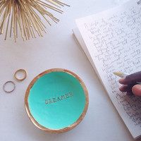 Dreamer Ring Dish/Vibrant Mint and Gold/Mint and Gold Ring Dish
