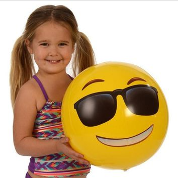 Yellow Beach Ball Emoji, Smiley Water Float Ball, Face Expression Kids and  Adult Inflatable Toy