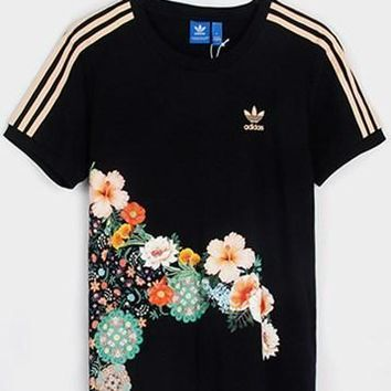 adidas Originals Three Stripe Floral Print T-shirt