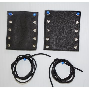 Motorcycle Leather Handlebar Grip Covers Pair New