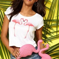 Short Sleeve Crop Top with Mirror Flamingo Screen