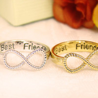 Women's Infinity Ring Best Friend Engraved Ring Jewelry Gold Silver