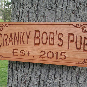Carved Wooden Signs, Personalized Home Bar Sign, Boyfriend Gift Ideas, Benchmark Custom Signs Cherry OJ