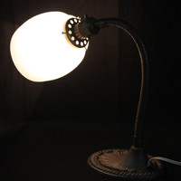 Vintage Art Deco Gooseneck Desk Lamp with Glass Globe & Cast Iron Base