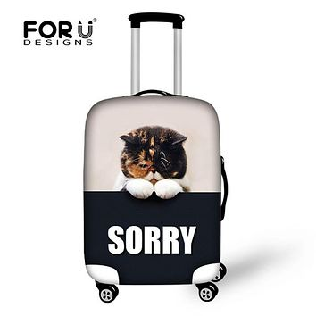 FORUDESIGNS Cute Cat Luggage Sets Elastic Cover for Girls Boys Men Luggage Protective Dustpoof Covers for 18 -30  inch Suitcase