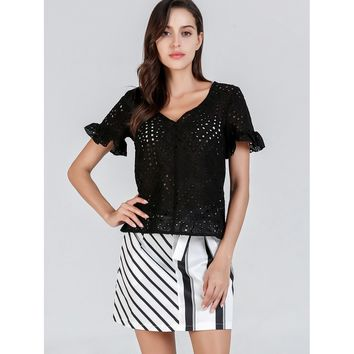 Black Lace Eyelet Bell Sleeve Solid Top