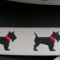 Scottie Dog Jacquard Ribbon, Medium Width, A Sturdy ribbon that holds up well.