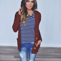 Cable Knit Cardi- Maroon