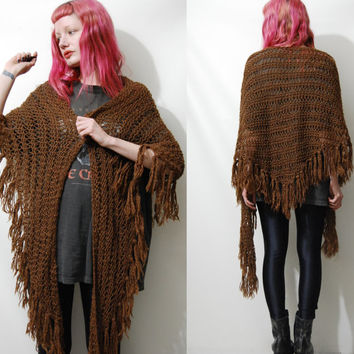 CROCHET WOOL 70s Vintage Shawl Cape Poncho Fringe Tassel Knit 1970s Boho Bohemian Hippie Gypsy Fringed Brown Wrap