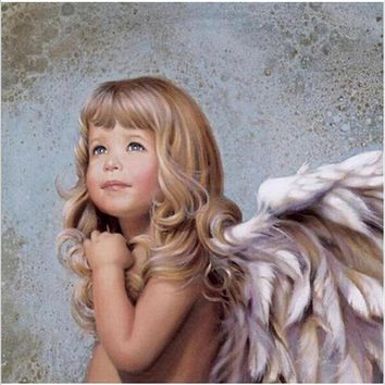 Hand painted acrylic oil paintings wall pictures for living room Coloring by numbers cuadros decoracion The Wing Angel girl DP22