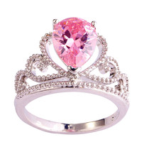 Fashion Crown Princess Multi-Color CZ Silver Ring Women's Jewelry