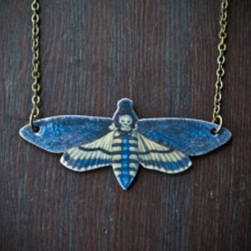 Death Head Moth Necklace - Winged Pendant - Insect Jewelry - Entomology