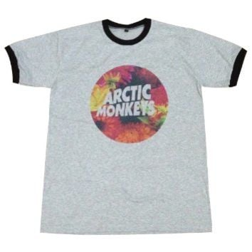 Arctic Monkeys floral music band rock alternative T-Shirt / GV68.4 size L