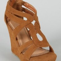 Lindy 66 Strappy Open Toe Platform Wedge TAN