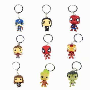 Keychain Avengers Harry Potter Game of Thrones action figure Bobble Head Q Edition new box for Car Decoration