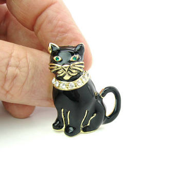 Black Cat Brooch. Chubby Kitty Cat. Monet Enamel. Rhinestone Collar, Green Eyes. Gold Tone Figural. Vintage Animal Designer Jewelry