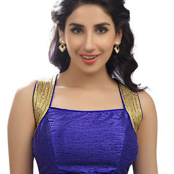 Exquisite Royal Blue Silk Party-Wear Sari Blouse SNT-X-257-NS