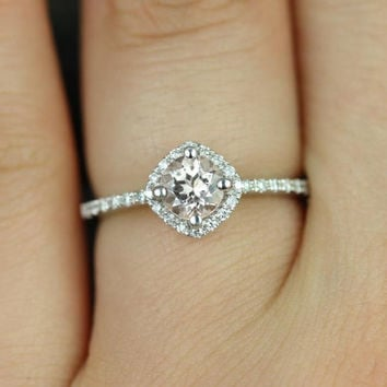 Kitana Ultra Petite Size 14kt White Gold Thin Morganite and Diamonds Cushion Halo Engagement Ring (Other Stone and Metals Available)