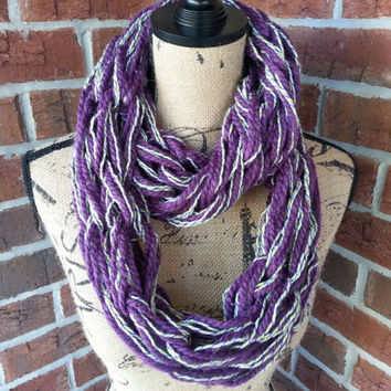Arm knitted infinity scarf, purple bulky scarf, knit scarf, chunky infinity scarf, Bulky arm knit cowl, purple cowl, metallic infinity scarf