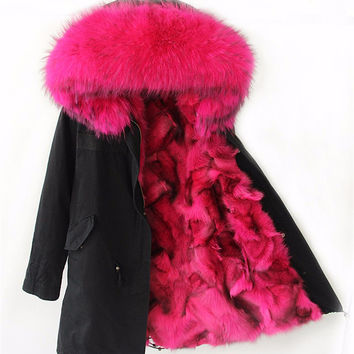 Winter Jacket Women 2016 Army Black Green Parka Coats Real Large Raccoon Fur Collar Fox Fur Lining Hooded Outwear Free DHL UPS