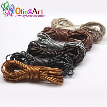 OlingArt Leather Cords 2mm 5M Craft Round pearl Genuine pearls Cord/rope/Wire/string DIY Bracelet choker necklace Jewelry making