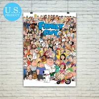 Family Guy Tv Series Characters Poster Print Wall Decor Canvas Print - piegabags.com