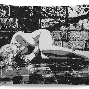 Abducted - kinky BDSM themed pillowcase, black and white erotic artwork, sexy pillow