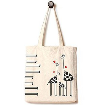 Andes Heavy Duty Gusseted Canvas Tote Bag, Handmade from 12 Ounce Pure Cotton, Perfect for Shopping, Laptop, School Books,The Giraffes